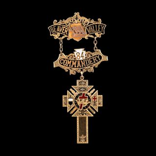 14K YELLOW GOLD KNIGHTS TEMPLAR CROSS BROOCH