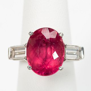 PLATINUM, 7.72 CARAT TOURMALINE, & DIAMOND RING