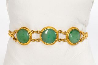 CHINESE 24K YELLOW GOLD & JADE BRACELET