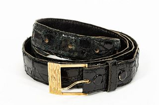 CARTIER 14K YELLOW GOLD AND LEATHER BELT