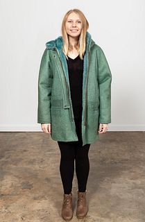 FENDISSIME GREEN SHEARLING COAT WITH HOOD