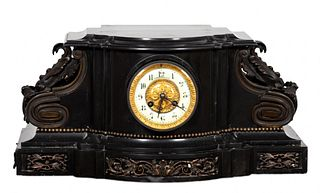 19TH C. BLACK SLATE MANTEL CLOCK WITH HORSE FIGURE
