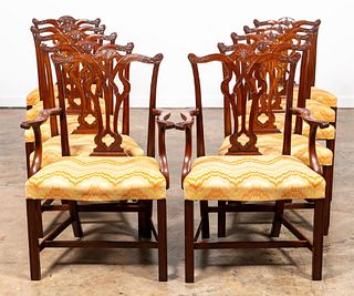 10 PCS, ENGLISH CHIPPENDALE STYLE DINING CHAIRS