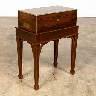 ENGLISH ROSEWOOD CAMPAIGN LAP DESK ON STAND