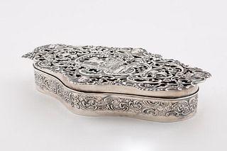 ENGLISH STERLING BRIDAL POTPOURRI BOX, 1906