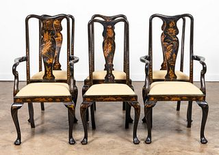 6 QUEEN ANNE STYLE BLACK CHINOISERIE DINING CHAIRS