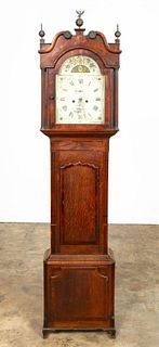 E. 19TH C. MAHOGANY GEORGE III LONGCASE CLOCK