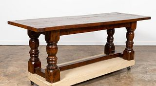 ENGLISH YEW WOOD TAVERN TABLE WITH TURNED LEGS