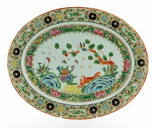 CHINESE OVAL ROSE MEDALLION PORCELAIN PLATTER