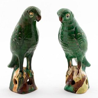 PAIR, CHINESE EXPORT GREEN GLAZED PARROT FIGURES