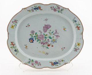 CHINESE EXPORT FLORAL MOTIF PLATTER