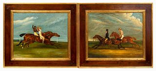 PAIR, EQUESTRIAN RACING SCENES, GILT & WOOD FRAMES