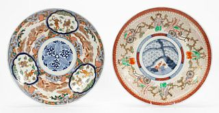 TWO ASIAN LARGE IMARI DECORATED PORCELAIN CHARGERS