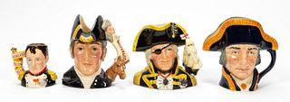 4 PCS, ROYAL DOULTON, TOBY JUGS, MILITARY FIGURES