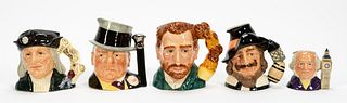5 PCS, ROYAL DOULTON, TOBY JUGS, HISTORICAL FIGURE
