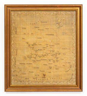 1813, ENGLISH NEEDLEWORK MAP OF WALES & ENGLAND