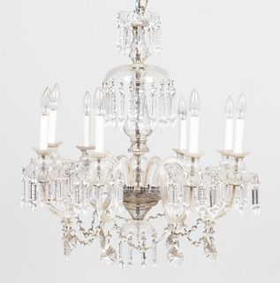 WATERFORD STYLE EIGHT LIGHT CRYSTAL CHANDELIER