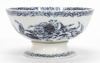 ENGLISH BLUE & WHITE FOOTED CERAMIC PUNCH BOWL