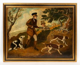19TH C, ENGLISH HUNTING SCENE, OIL ON CANVAS