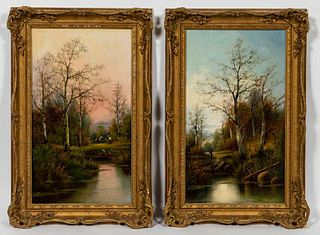 PAIR, GEORGE HOLMES, ENGLISH LANDSCAPE PAINTINGS