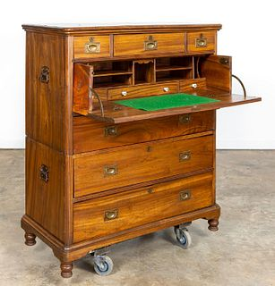 19TH C. ANGLO-COLONIAL CAMPAIGN CAMPHOR CHEST/DESK