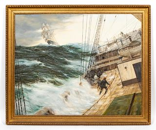 HENRY SCOTT, LARGE MARITIME OIL ON CANVAS, FRAMED