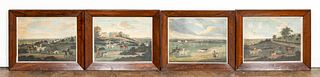 4 PCS, HUNTING SCENES IN MATCHING ROSEWOOD FRAMES
