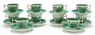 SET OF 10, CHINESE EXPORT FITZHUGH CUPS & SAUCERS