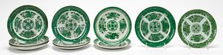 11PCS, CHINESE EXPORT, GREEN FITZHUGH PLATES