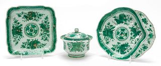3PCS CHINESE EXPORT, GREEN FITZHUGH SERVING PIECES