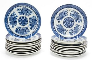 20 PCS, CHINESE EXPORT, BLUE FITZHUGH PLATES