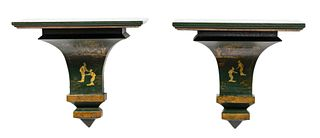 PAIR, GREEN PAINTED CHINOISERIE HANGING BRACKETS