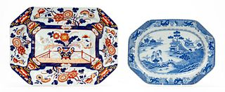 2 PCS, ENGLISH PORCELAIN AND IRONSTONE PLATTERS