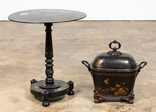 2PC SET, BLACK CHINOISERIE TABLE & COAL SCUTTLE