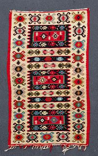 "HAND WOVEN KILIM RUG, APPROX. 5' 6"" X 3' 3"""