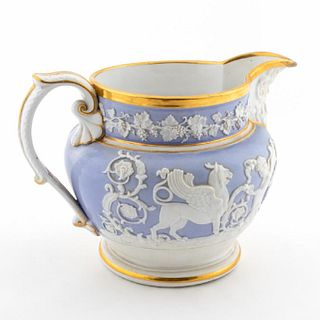 EARLY STAFFORDSHIRE CREAMWARE PITCHER, 18TH C.