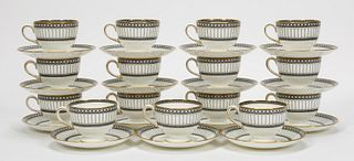 30 PCS, WEDGWOOD COLONNADE PATTERN, CUP & SAUCERS