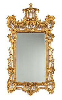 CHINESE CHIPPENDALE GILTWOOD WALL MIRROR
