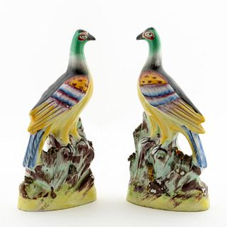 PAIR, 19TH C. STAFFORDSHIRE FIGURES OF PHEASANTS