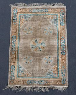 "HAND WOVEN CHINESE SILK CARPET, APPROX 6' 1"" X 4'"