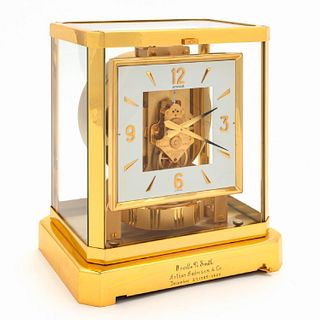 "JAEGER LECOULTRE ""ATMOS"" SQUARE DIAL BRASS CLOCK"