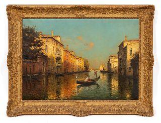 ANTOINE BOUVARD, VENICE CANAL, OIL ON CANVAS