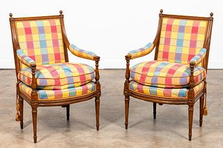 PAIR, FRENCH STYLE WALNUT ARM CHAIRS, UPHOLSTERED