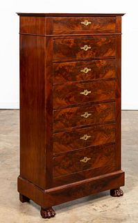 FRENCH FLAME MAHOGANY 7 DRAWER BACHELOR'S CHEST