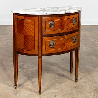 SMALL LOUIS XVI STYLE MARBLE TOP DEMILUNE TABLE