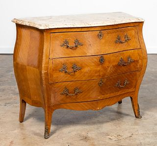 20TH C. LOUIS XV STYLE PARQUETRY FALL FRONT DESK