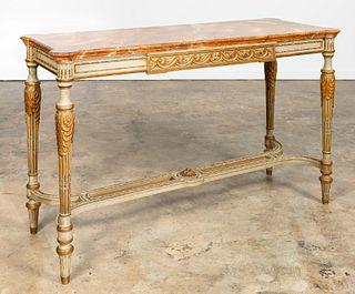 LOUIS XVI STYLE PAINTED PARCEL-GILT CONSOLE TABLE