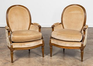 PR. LOUIS XVI STYLE OVAL BACK UPHOLSTERED BERGERES