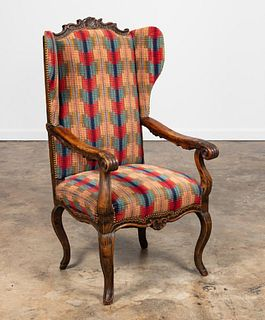 FRENCH PROVINCIAL WOOD & UPHOLSTERED WING ARMCHAIR