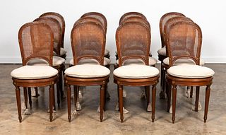 12 LOUIS XVI FRENCH WOOD & CANED DINING CHAIRS